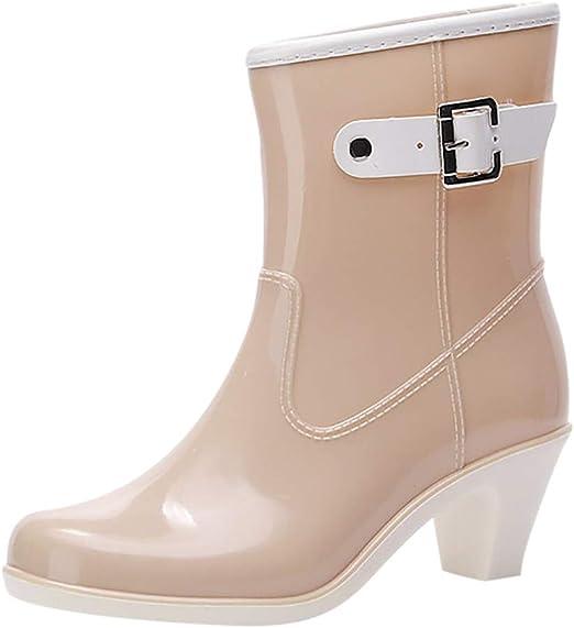 Womens Waterproof high Heels Boots