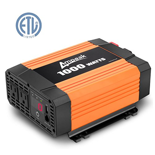 Ampeak 1000W Power Inverter 12V DC to 110V AC Dual AC Outlets Car Inverter