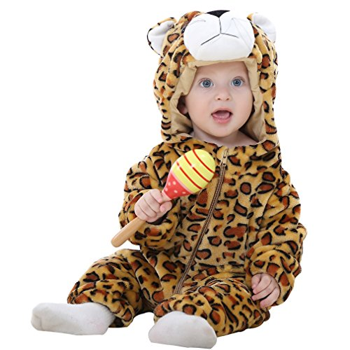 IDGIRL baby girls and boys' Flannel Cotton rompers Leopard-70CM Leopard 3-5 -