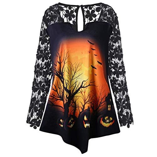 PIKAqiu33 Women Halloween Pumpkin Print Party Lace Patchwork Long Sleeve Blouse (Yellow, 2XL) -