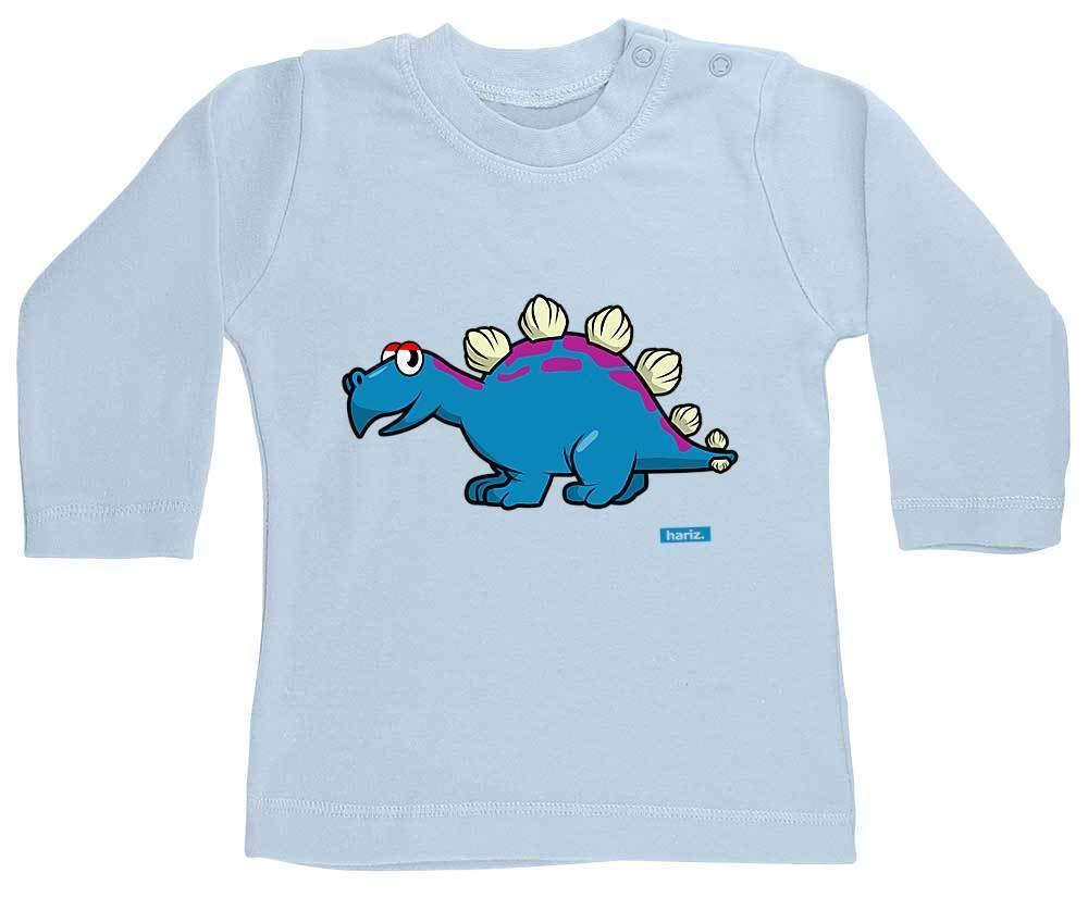 HARIZ Baby Shirt Langarm Stegosaurus Dinosaurier T-Rex Tiere Plus Geschenkkarten Bubblegum Pink 3-6 Monate