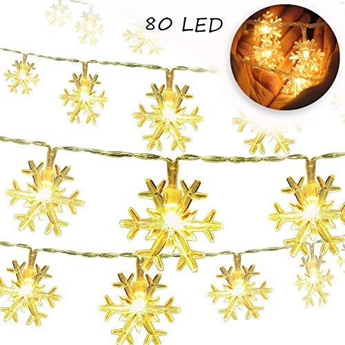 Christmas Snowflake String Lights 32.8ft 80LED Fairy Lights Battery Operated Waterproof for Xmas Garden Patio Bedroom Party Decor Indoor Outdoor Celebration Lighting, Warm White (10M 80 Lights) -
