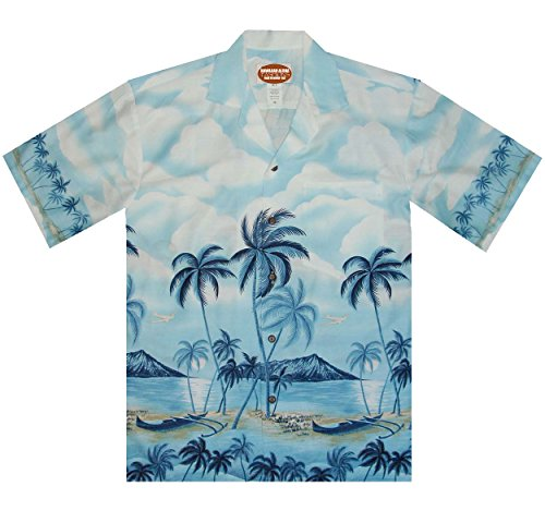 Hawaiian Shirt Border Design with Oahu's Diamond Head Volcano in Cotton Short Sleeves, LARGE, BLUE ()