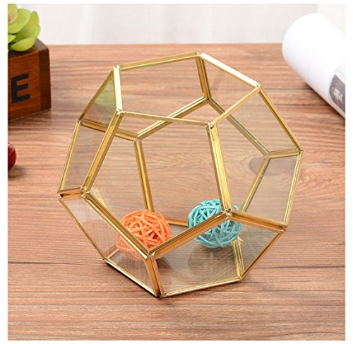Alrsodl Exquisite Mini Faceted Spherical Football-like Gilt Metal Geometric Shape Clear Glass Hinged Top Lid Flower Room Plant Terrarium Box Jewelry Box Handicraft For Tabletop Home Decoration