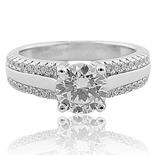 Sterling Silver Cathedral Style Engagement Ring with Round CZ in 4 Prong Cathedral Four Prong