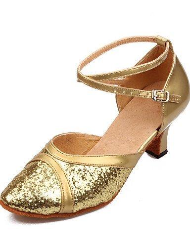 ShangYi Non Customizable Women's Dance Shoes Modern Leatherette/Paillette Cuban Heel Black/Blue/Pink/Red/Silver/Gold Silver pYwDu