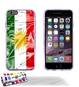 """Carcasa Flexible Ultra-Slim APPLE IPHONE 6 PLUS 5.5 POUCES de exclusivo motivo [Bandera Kurdistan] [Violeta] de MUZZANO  + 3 Pelliculas de Pantalla """"UltraClear"""" + ESTILETE y PAÑO MUZZANO REGALADOS - La Protección Antigolpes ULTIMA, ELEGANTE Y DURADERA para su APPLE IPHONE 6 PLUS 5.5 POUCES"""