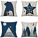 Heyhousenny Cartoon Decorative Pillow Covers Woodland Throw Pillow Case Cotton Linen Cushion Cover for Kids Room 18 x 18 inches Set of 4 (Bear)