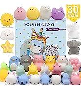 POKONBOY 30 PCS Squishies Mochi Squishy Toys, Mini Kawaii Squishy Animals Squeeze Stress Relief T...