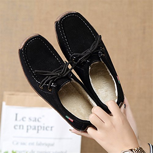Driving On Loafers Moccasins Women's Slip Penny Flats Shoes Black Boat Casual Suede Leather Eagsouni qwxRAYtHS