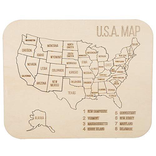 [해외]나무 미국 지도 퍼즐 diy 목재 퍼즐 보드 교육 학습 완구 선물 어린이 소년 소녀 / Kids Boys Boys For Wooden American Map Puzzle Diy Wooden Jigsaw Puzzle Board Educational Learning Toy Gifts