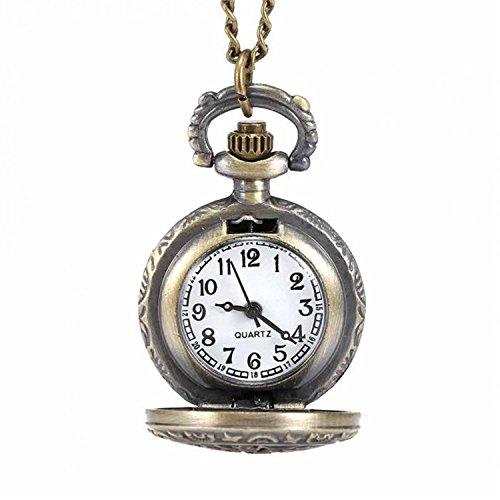 LYMFHCH Women's Spider-Web Carving Pattern Hollow Out Antique Delicate Pocket (Necklace Clock)