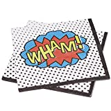 Ginger Ray Comic Superhero Wham Party Paper Napkins, Mixed