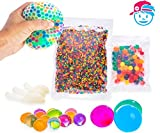 SENSORY WATER BEADS PACK + STRESS BALL FOR KIDS [20,000 Small/100 Large/6 Balloons] Squishy Water Gel Beads Pack for Sensory Kids – Best Tactile Sensory Toys for Kids with Autism ADHD & Sensory Needs