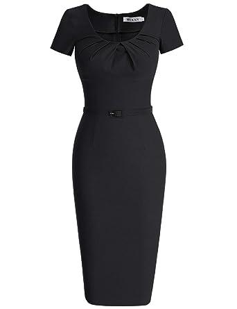 08c091e14b25d MUXXN Women s Retro 1940s Style Scoop Neck Belt Waist Bodycon Dress (S  Black)