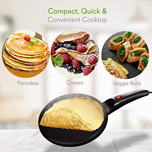 "NutriChef AZPKCRM08 Electric Griddle Crepe Maker Cooktop-Nonstick 8"" Pan Style Hot Plate with On/Off Switch, Automatic Temperature Control & Cool-Touch Handle, Food Bowl & Spatula Included, Black by NutriChef (Image #2)"