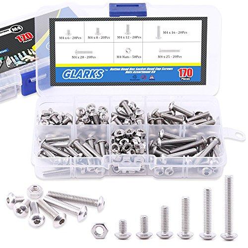 Glarks 170Pcs M4 Stainless Steel Allen Hex Drive Button Head Socket Cap Bolts Screws Nuts Assortment Kit (M4)