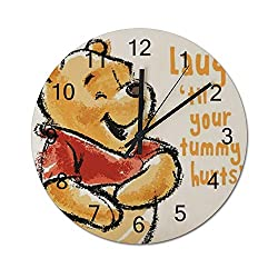 YANVCXRF Winnie The Pooh Laugh Wooden Wall Clock Decorative Home Decor Digital Clock Battery Operated Round Easy to Read Home/Office/School/Living Room/Kitchen/Bedroom Kids Clock