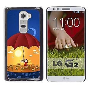 LECELL -- Funda protectora / Cubierta / Piel For LG G2 D800 D802 D802TA D803 VS980 LS980 -- Cute Umbrella Girl --