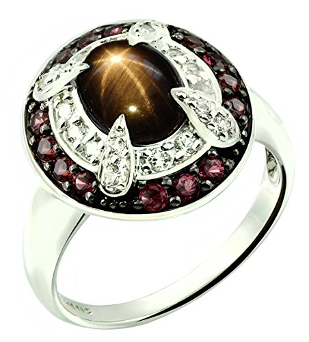 2.90 Carats Natural Black Star Sapphire with Crimson-Red Sapphire Rhodium-Plated Sterling Silver Ring (9)