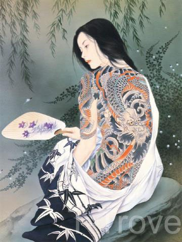 Tattoo Japanese Lady Wall Scroll R21