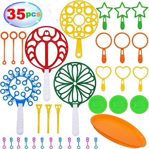 THAWAY Colorful Bubble Wands Toys Set for Kids Bubble Making Wands Assortment Bubble Kits with Trays Total 35 Pack