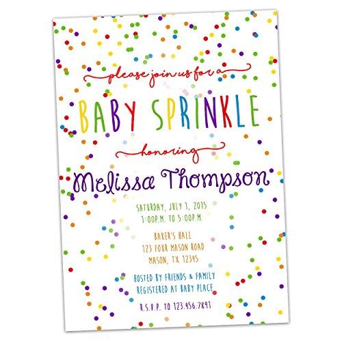 Rainbow Baby Sprinkle Invitations Baby Shower Girl Boy Neutral -