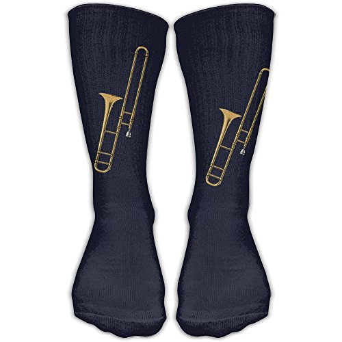 JINYIPI Knee High Socks Trombone Music Instruments Novelty Athletic Crew Funny Tube Work Out Stockings With One Size 30cm