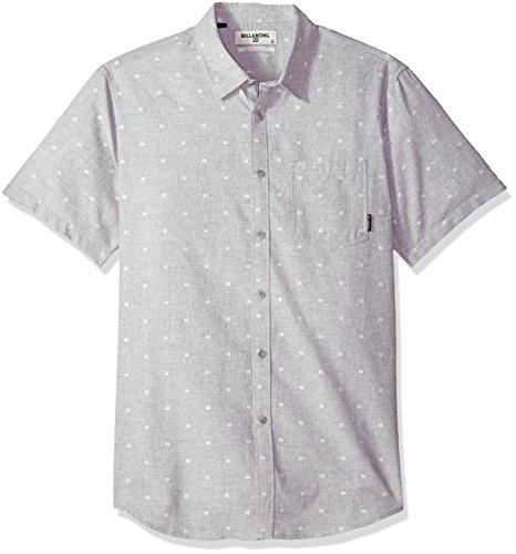Billabong Men's Sundays Jacquard Short Sleeve Shirt Grey Heather Small