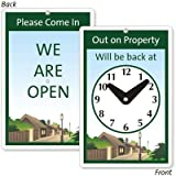 Out On Property Will Be Back At (with Clock Graphic) / Please Come In We Are Open, 5.75'' x 8.75''