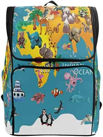 c70e58b78ad2 ZZKKO Colorful World Map Animals Backpacks College School Book Bag Camping  Hiking Travel Daypack