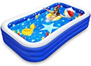 Inflatable Swimming Pool, Family Lounge Pool Kiddie Pool for Kids, Adults, Infant, Toddlers, Garden, Backyard,