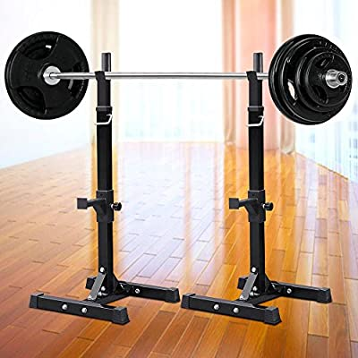 Topeakmart Barbell Stand Standard Solid Steel Barbell Free Bench Press Squat Rack