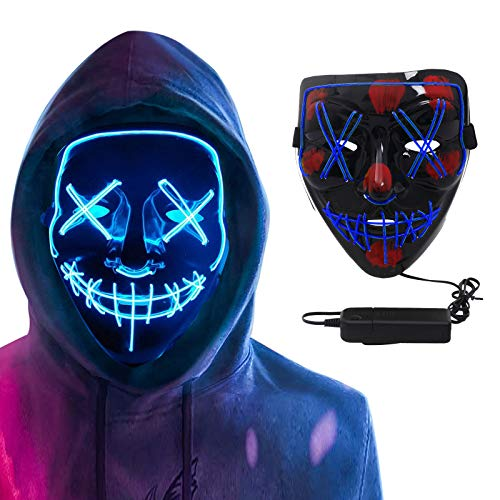 Halloween Mask LED Purge Mask,LED Glow Scary Mask ,Light up Halloween Masks for Festival Party Carnival Costume Christmas Cosplay Glow in Dark (Blue)