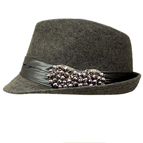 Gray Fedora Hat With Satin Hat Band & Beaded Bow (Beaded Satin Hat)