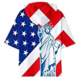 Hooded Shirt for Men F_Gotal Men's T-Shirts Fashion Summer Short Sleeve American Flag Cool Eagle Hooded Blouse Tops White