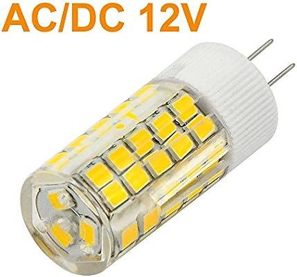 MENGS® Pack de 4 Bombilla lámpara LED 6 Watt G4, 63x2835 SMD, Blanco Cálido 3000K, ACDC 12V