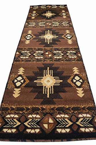 (Southwest Native American Indian Rugs 4 Less Collection Long Runner Area Rug Design R4L 318 Chocolate (2'4''x10'11''))