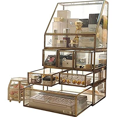 "Antique Spacious Makeup Organizer Mirror Glass Drawers Set/ Brass Metal Cosmetic Vanity Storage /Stunning Jewelry Cube Countertop Dresser/Vintage Makeup Holder Nightstand for Perfume/Brushes/Skincare - LARGE BUT EASY TO PLACE-Use Individually or Stackable,Measures- L*H*W:26*19.5*24CM (10.24""*7.68""*9.54""),has compartments of various sizes and shapes to keep all your essentials,such as jewelry separate, organized and neatly displayed. The compartments hold Makeup/Jewelry/ Brushes/ Perfumes/Skincare/Foundations/necklaces, bracelets, rings, earrings, watches, etc anything about your collection. CLASSIC QUANLITY&MUILTI-FUNCTION-5MM Thick Glass and Brass Metal ,HANDMADE&PRIME QUALITY,100% NON-TOXIC AND DUST FREE,Can be used as bathroom countertop,drawer organizer,Clear Cube organization,personal organizer for office desk,comestic organizer for vanity,jewelry storage for countertop,clear cases for kitchen supplies,brathroom organization,bedroom dresser and ect BEAUTIFULLY DISPLAY - Display your everyday essentials: hair products, deodorant, facial scrubs, lotions, cleansing towels, etc - Showcase your beauty must haves: lipsticks, foundations, bronzers, blushes, eye shadows, primers, powders, perfume collection and much more - Can also be used to store jewelry and personal accessories - organizers, bathroom-accessories, bathroom - 51w6stPVccL. SS400  -"