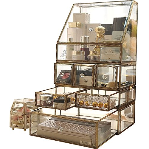 51w6stPVccL - Antique Large 4 Tier Clear Glass with Brass Metal Cosmetic Makeup Storage Cube Organizer with 6 Drawers. It Consists of 4 Separate Organizers, Each of Which Can be Used Individually