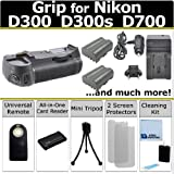 Multi Power Vertical D300 D300s D700 Multi Purpose Battery Grip for Nikon D300 D300s D700 DSLR Camera + 2 EN-EL3E Long Life Batteries + AC/DC Turbo Charger With Travel Adapter + Universal Wireless Remote + All In One Card Reader + Complete Deluxe Starter
