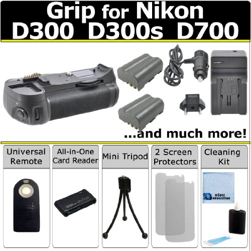 Multi Power Vertical D300 D300s D700 Multi Purpose Battery Grip for Nikon D300 D300s D700 DSLR Camera + 2 EN-EL3E Long Life Batteries + AC/DC Turbo Charger With Travel Adapter + Universal Wireless Remote + All In One Card Reader + Complete Deluxe Starter  by eCost
