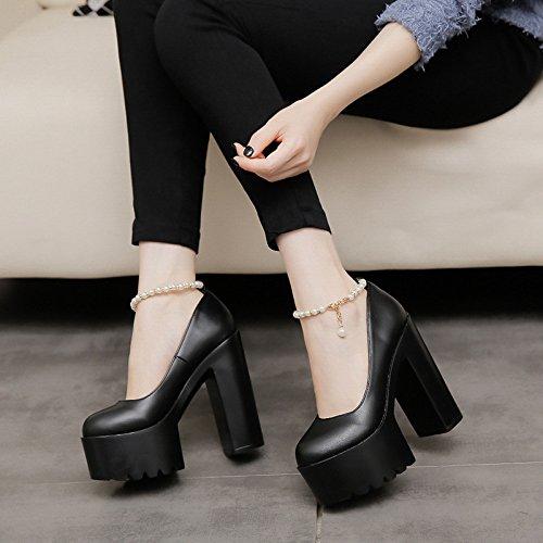 alto alto super zapatos de 14cm15cm Cadena zapatos tacon blancas de tacón de Black de mujer tacon de XiaoGao de Roma zapatos perlas zqfvRa
