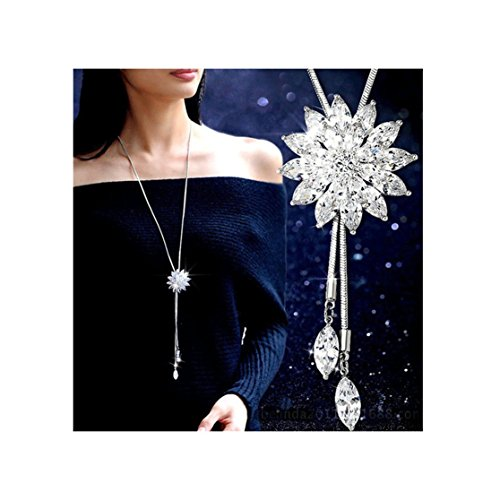 Shoopic Crystal Tassel Snowflake Pendant Necklace Long Sweater Necklace for Women Girls