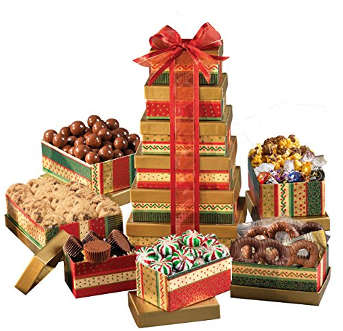 Broadway Basketeers Season Greetings Christmas Gift Tower