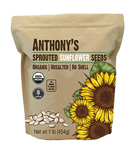 Anthony's Organic Sprouted Sunflower Seeds, 1lb, Batch Tested Gluten Free, Keto & Paleo Friendly, Unsalted, No Shell (Sprouted Sunflower Seeds Organic)