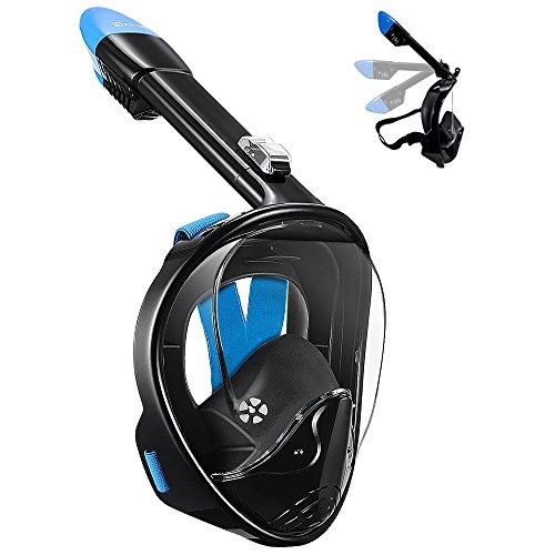 WSTOO Full Face Snorkel Mask,180°Panoramic View Snorkel Mask-Anti-Fog Anti-Leak for Adults & Kids (Foldable Black/Blue, L/XL)