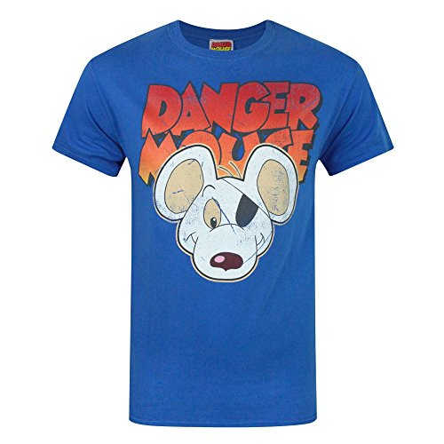 Danger Mouse T-shirt - Danger Mouse Mens Face T-Shirt (M) (Blue)