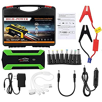 Car Jump Starter Build with Air Compressor 10 in 1 set,600A Peak 12000 mAh Jump Pack,With 4 USB Ports,4 LED flashlight/Digital Display for Diesel and Petrol Vehicles(one more safety hammer)