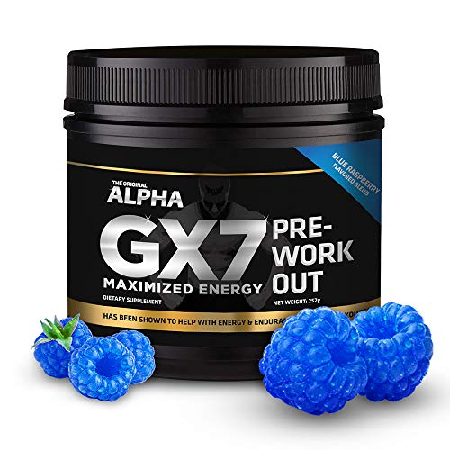 Alpha Gx7 Pre Workout Powder - Energy Drink for Workouts - 30 Servings Blue Raspberry Flavor (Best Flavour C4 Pre Workout)